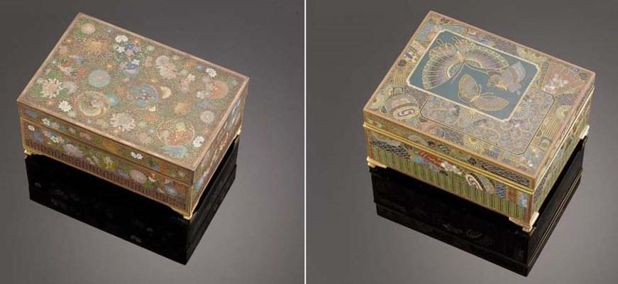 A cloisonne rectangular box an