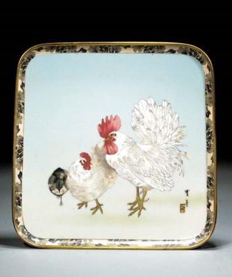 A cloisonne square tray Meiji