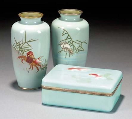 A cloisonne tapering vase Earl