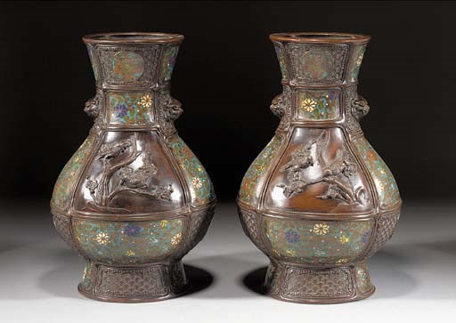 A pair of bronze and cloisonne