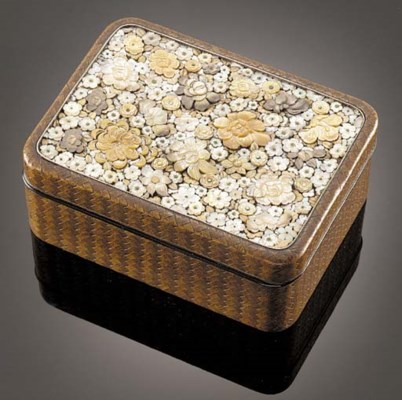 A rectangular lacquer box and