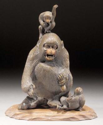 A bronze monkey group 19th cen