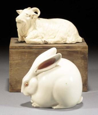 A cream glazed model of a rabb