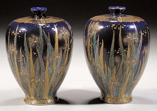 A pair of Satsuma baluster vas