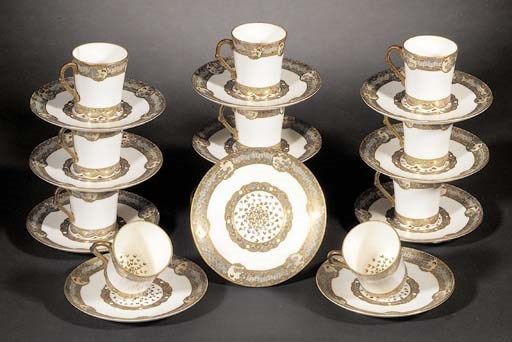A Satsuma coffee set 19th cent