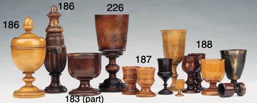 Seven various treen drinking v