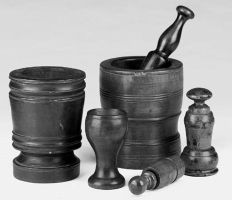 A collection of three treen mo