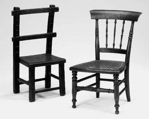 Two wood child's chairs, 19th