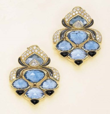 A PAIR OF BLUE TOPAZ AND MULTI