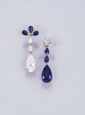 A PAIR OF ELEGANT SAPPHIRE AND