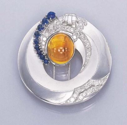 A CITRINE, SAPPHIRE AND DIAMON