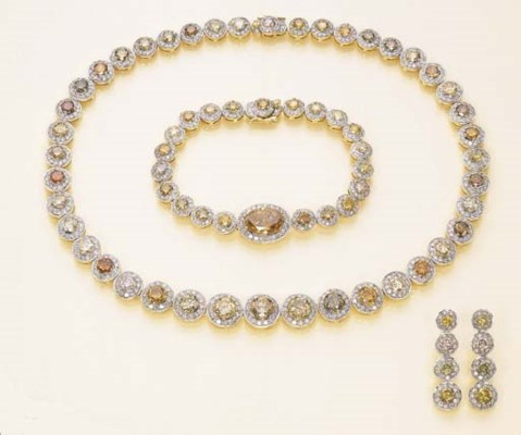 A SUITE OF DIAMOND AND COLOURE