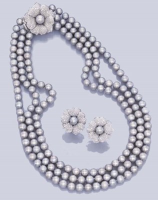 A SUITE OF GREY CULTURED PEARL