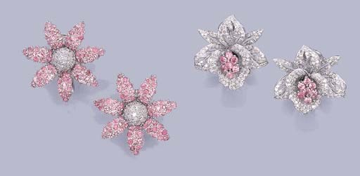 TWO PAIRS OF FLORAL DIAMOND AN