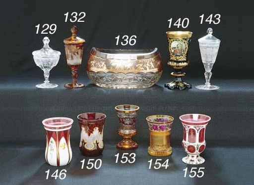 A BOHEMIAN EMERALD GLASS GOBLE