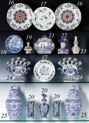 A DUTCH DELFT BLUE AND WHITE W