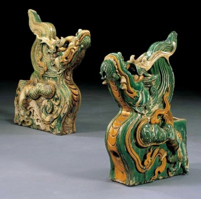 TWO DRAGON-FORM ROOF-TILES