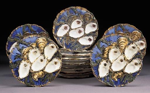 Eighteen Haviland Limoges Blue Ground Oyster Plates