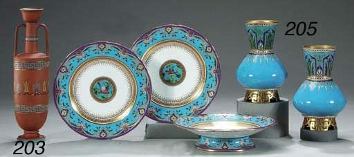 A PAIR OF MINTON TURQUOISE-GRO