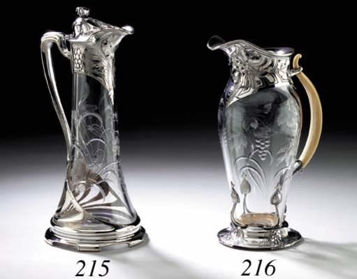 A SILVER-MOUNTED CUT-GLASS CLA