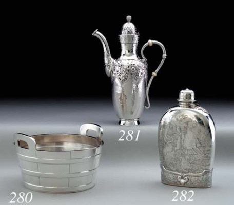 A LARGE SILVER FLASK