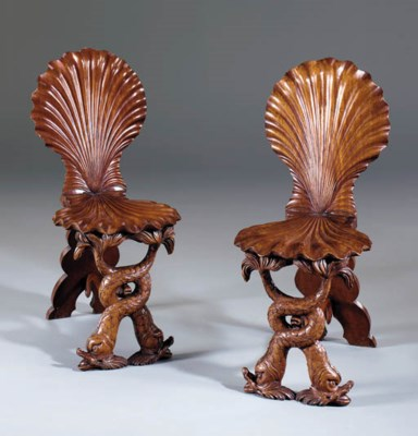 A PAIR OF GEORGE II WALNUT HAL