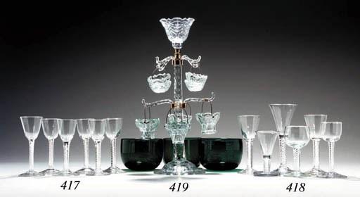 SIX ENGLISH GREEN-GLASS FINGER