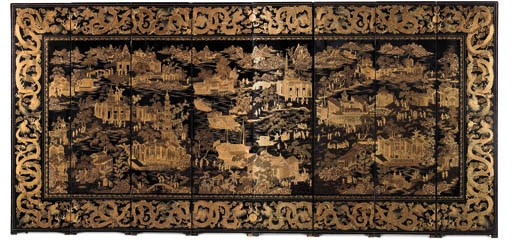 A CHINESE BLACK AND GILT DECOR
