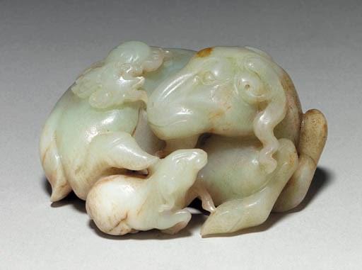 A Pale Greenish-Grey Jade Goat