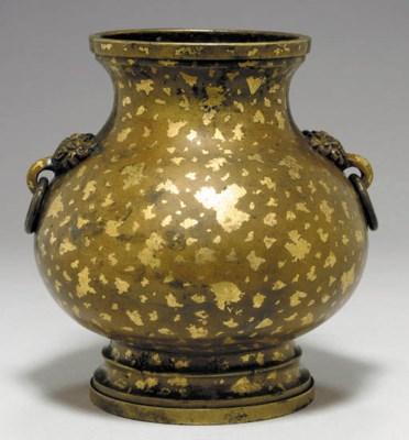 A Gold-Splashed Bronze Pear-Sh