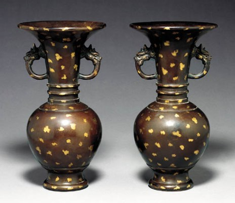 A Pair of Gilt-Splashed Bronze