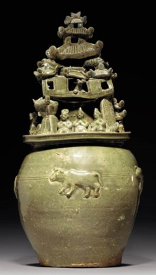 A Yueyao Molded Funerary Jar