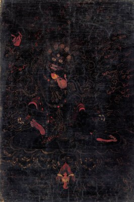 A Black Ground Thangka of a Ya