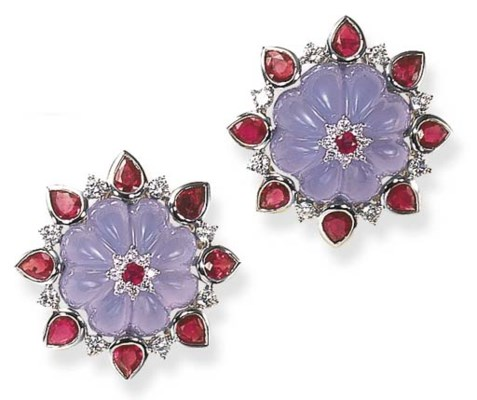 A PAIR OF CHALCEDONY, RUBY AND