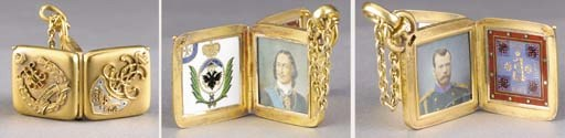 A RARE GOLD AND ENAMEL JETTON