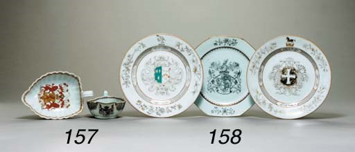TWO FLUTED ARMORIAL SAUCEBOATS
