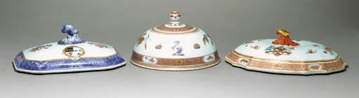 FOUR ARMORIAL TUREEN COVERS