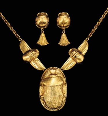 A SUITE OF EGYPTIAN STYLE GILT