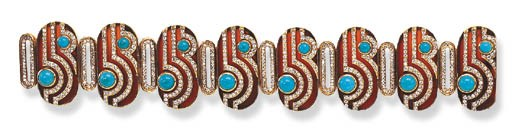 A TURQUOISE, CARNELIAN AND DIA