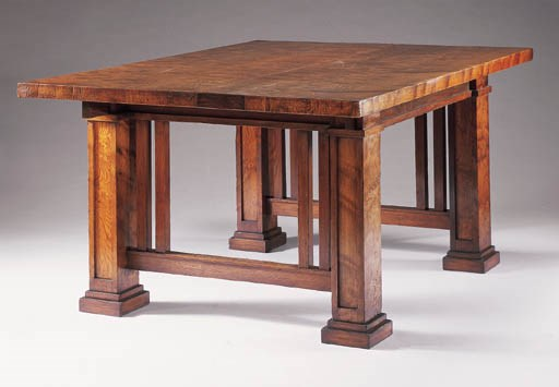 a curly cypress dining table frank lloyd wright for the isabel roberts house river forest. Black Bedroom Furniture Sets. Home Design Ideas