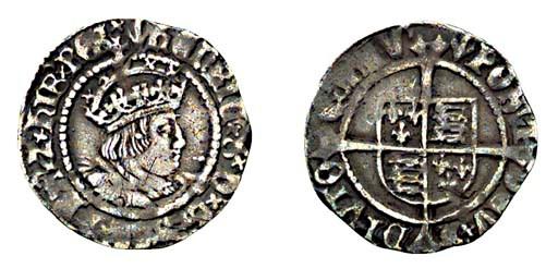 Henry VIII, Halfgroat, 1.29g.,