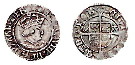 Henry VIII, Halfgroat, 1.51g.,