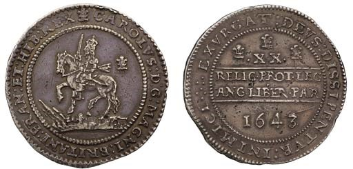 Oxford mint, Pound, 1643 over