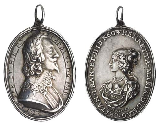 Charles I, silver badge, 29mm.