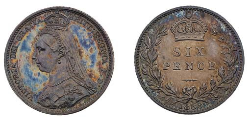 Victoria, proof Sixpence, 1888