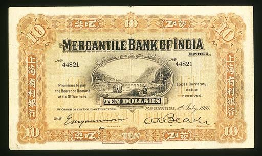Mercantile Bank of India, $10,