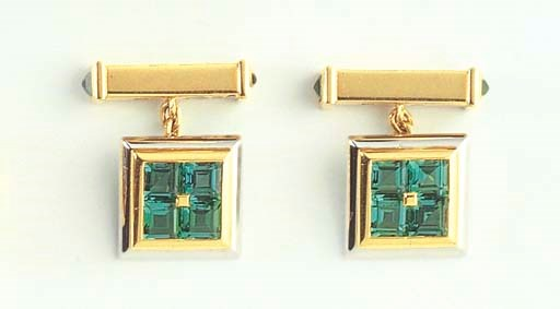 A PAIR OF TOURMALINE AND GOLD