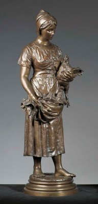 A patinated bronze group of a