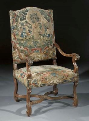 A Dutch walnut fauteuil