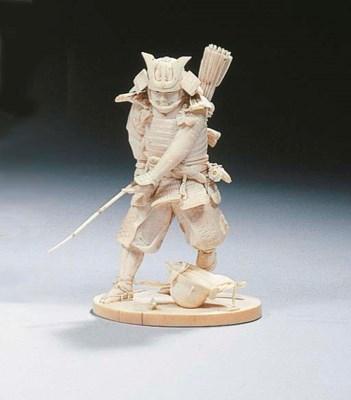 An ivory okimono of a warrior